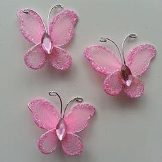 Lot de 3 minis papillons  25*25mm