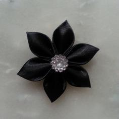 Fleur satin noir 5cm