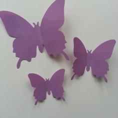 Grand papillon  3D en plastique 11 *9.5 cm mauve