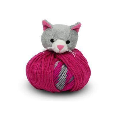 kit bonnet , doudou Top This de DMC chat gris et rose