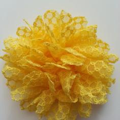 Applique fleur gauffrée  jaune 85mm