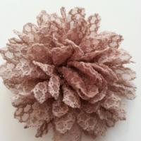 Applique fleur gauffrée  marron 85mm
