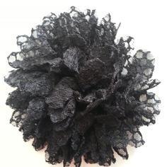 Applique fleur gauffrée noire 85mm