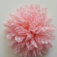 Applique fleur gauffrée rose 85mm
