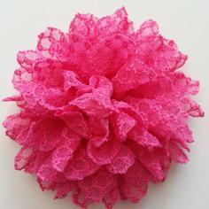 Applique fleur gauffrée rose fuchsia  85mm
