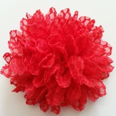 Applique fleur gauffrée rouge 85mm