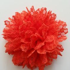 Applique fleur gauffrée  orange 85mm