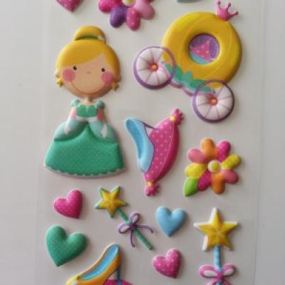 Planche de 11 Stickers mousse thème princesse