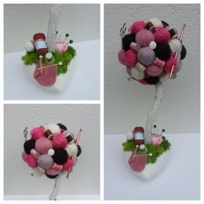 Arbre crochet, tricot, couture rose, marron  et ivoire