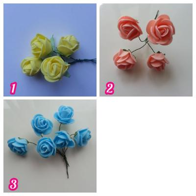 Lot de 4 roses en mousse sur tige   2.5cm