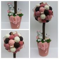 Arbre crochet, tricot, couture rose,pêche , marron  et ivoire