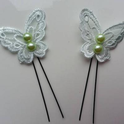 lot de 2 epingles pics à chignon papillon  en dentelle vert d'eau 45*40mm