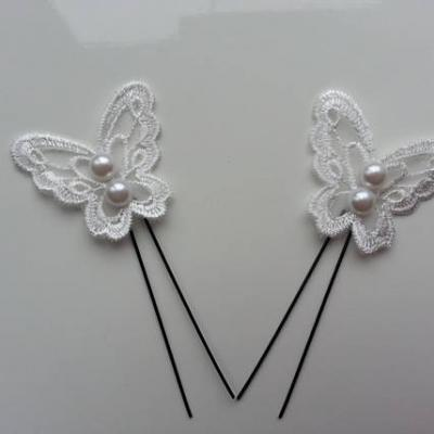lot de 2 epingles pics à chignon papillon  en dentelle blanc 45*40mm