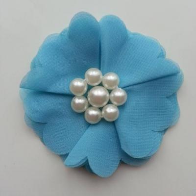 fleur mousseline et perles 70mm bleu