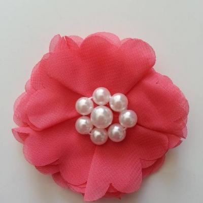 fleur mousseline et perles 70mm saumon