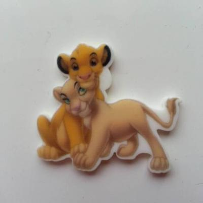 Cabochon roi lion plat en résine