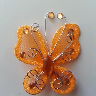 Papillon  strass et paillettes  50*50mm orange