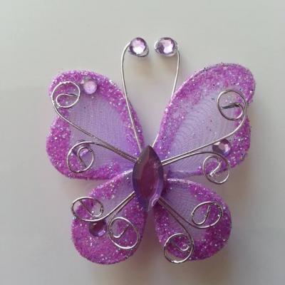 Papillon  strass et paillettes  50*50mm mauve