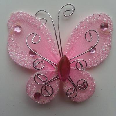 Papillon  strass et paillettes  50*50mm rose