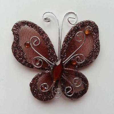 Papillon  strass et paillettes  50*50mm marron