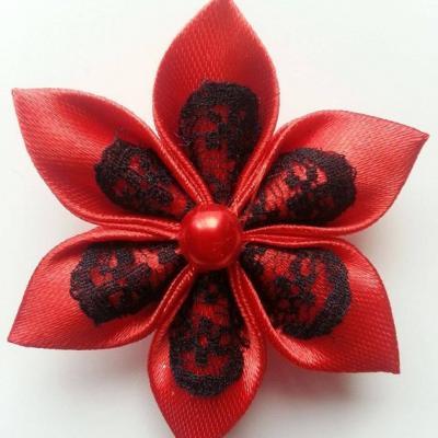 Fleur satin rouge et dentelle noire 5cm