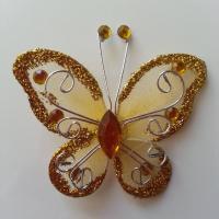 Papillon  strass et paillettes  50*50mm doré, or