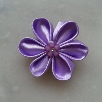 Fleur de satin 5 cm pétales ronds lavande