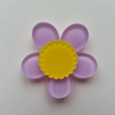 fleur en plastique  36mm mauve et jaune