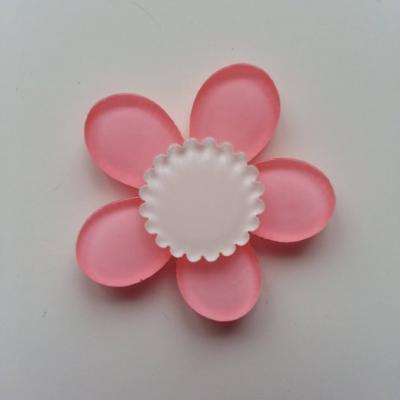 fleur en plastique  36mm rose et blanc