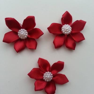 Lot de 3 appliques ruban  fleur  avec centre 35mm bordeaux