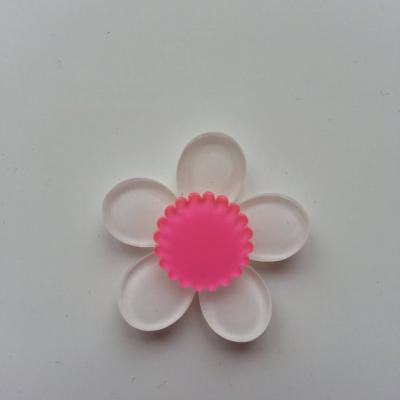 fleur en plastique  36mm blanc et rose