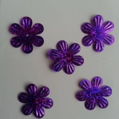Lot de 5 sequins fleurs 35mm  à reflets violet