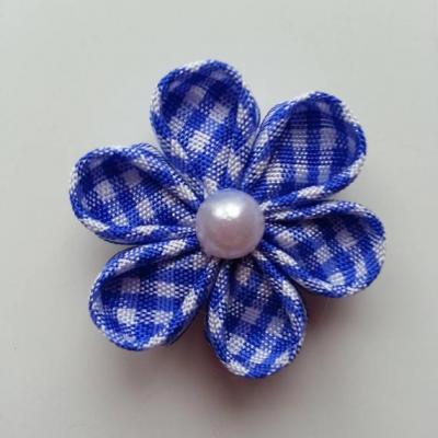 fleur tissu à carreaux blanc et bleu royal  4 cm  petales ronds