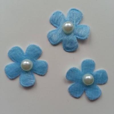 Lot de 3 fleurs perlée en feutrine  25mm bleu