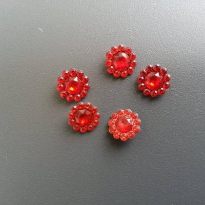 lot de 5  strass ronds  12mm rouge