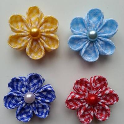 lot de 4 fleurs tissu à carreaux  vichy 4 cm  petales ronds