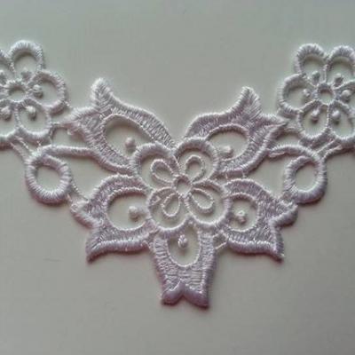 Applique dentelle  collier  11*7cm blanc