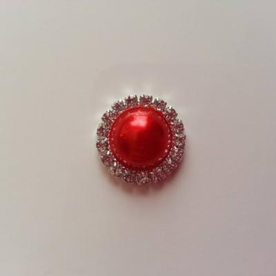 Cabochon métal strass 20mm rouge