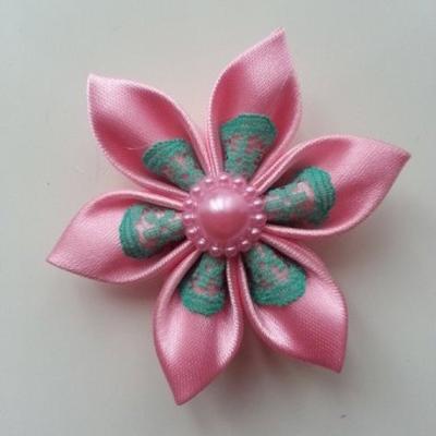 Fleur satin rose et dentelle verte  5cm