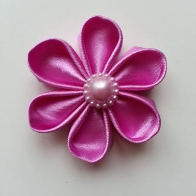 Fleur de satin 5 cm pétales ronds mauve rose