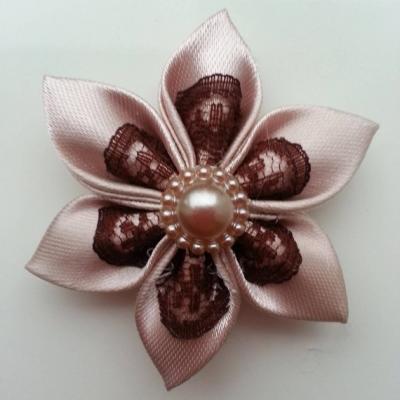 Fleur satin bronze et dentelle marron 5cm