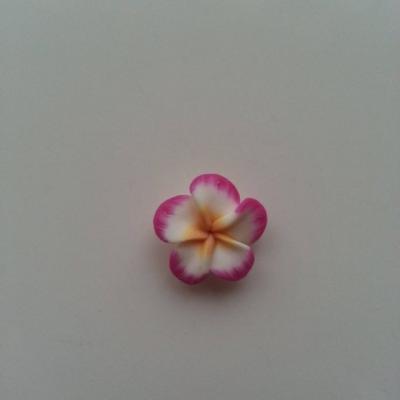 fleur en fimo  pate polymere rose et blanche     20mm