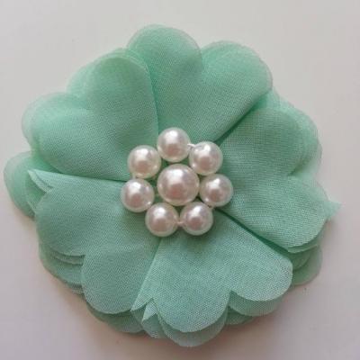 fleur mousseline et perles 70mm vert pastel