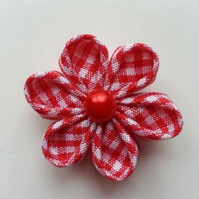 fleur tissu à carreaux blanc et rouge 4 cm  petales ronds