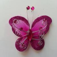 Papillon  strass et paillettes  50*50mm rose fuchsia
