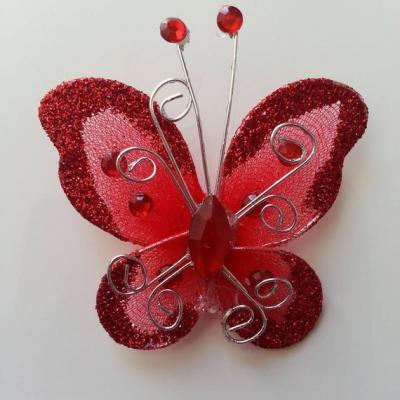 Papillon  strass et paillettes  50*50mm rouge