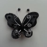 Papillon  strass et paillettes  50*50mm noir