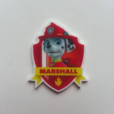 Cabochon  plat en résine marshall paw patrol 30*30mm