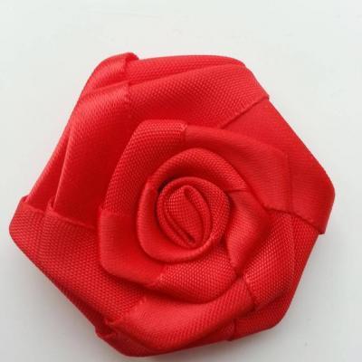 Fleur de satin plate  50mm rouge