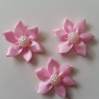 Lot de 3 appliques ruban  fleur  avec centre 35mm rose